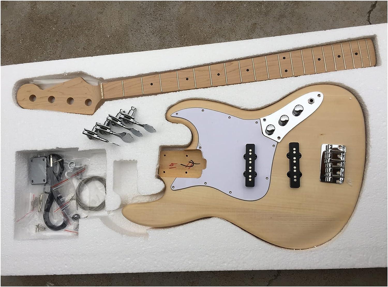 Cuerpo Guitarra DIY 4 Cuerda JB Kit De Guitarra De Bajo con Cuerpo De Graves Y Cuello De Arce Y Diapasón Kits Guitarra Bricolaje