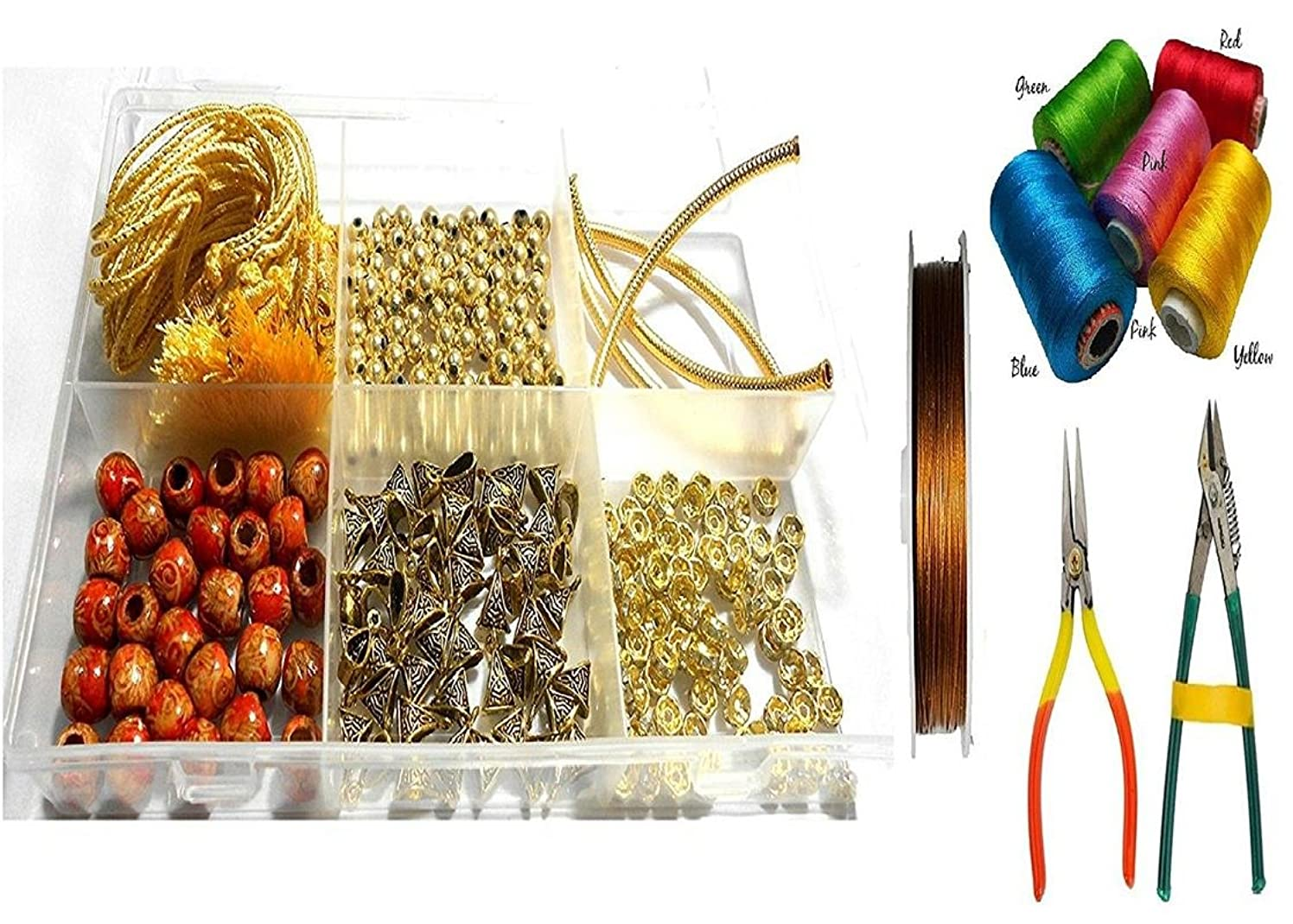 GOELX Silk Thread Necklace Making Kit Golden - Variety Of Essential Material With Silk Thread, Wire & Tools