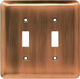 Franklin Brass 64090 Stamped Steel Round Double Toggle Switch Wall Plate/Switch Plate/Cover, Antique Copper
