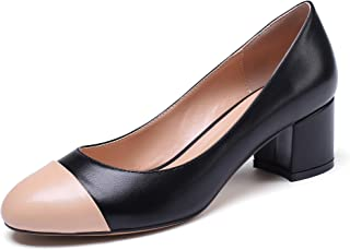 "YODEKS Women's Mid Heel Pumps Shoes Round Toe Color Stitching High-Heel Slip On Pumps Manmade Leather 2"" Block Heel Closed Toe Party Dress Shoes"