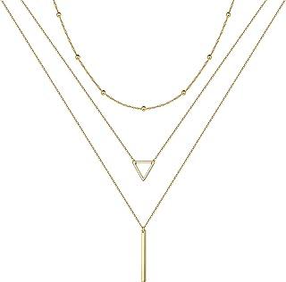 سلسلة متعددة الطبقات مصنوعة يدويا ومطلية بالذهب عيار 14 قيراط قابلة للتعديل من توراندوس - بدلاية شكل مثلث وكرات وخط للنساء