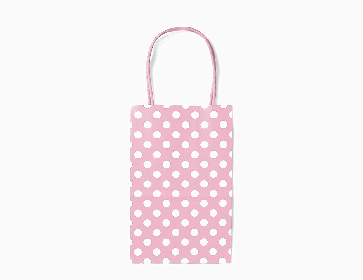 12CT Small Light Pink Polka DOT Biodegradable, Food Safe Ink & Paper, Premium Quality Paper (Sturdy & Thicker), Kraft Bag with Colored Sturdy Handle (Small, P.Light Pink)