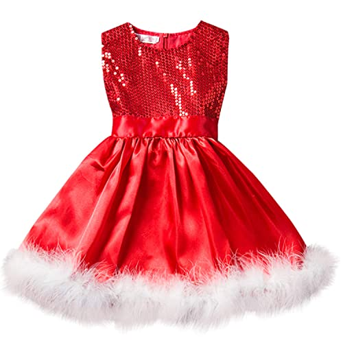 c6cb40e41376 NNJXD Toddler Baby Girls Christmas Dress Xmas Tutu Santa Claus Pattern Red  Dresses