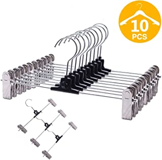 VEHHE Pants Hangers Skrit Hangers 10 Pack Stackable With Pant Hanger Non-Slip Big Clips and 360 Rotatable Hook