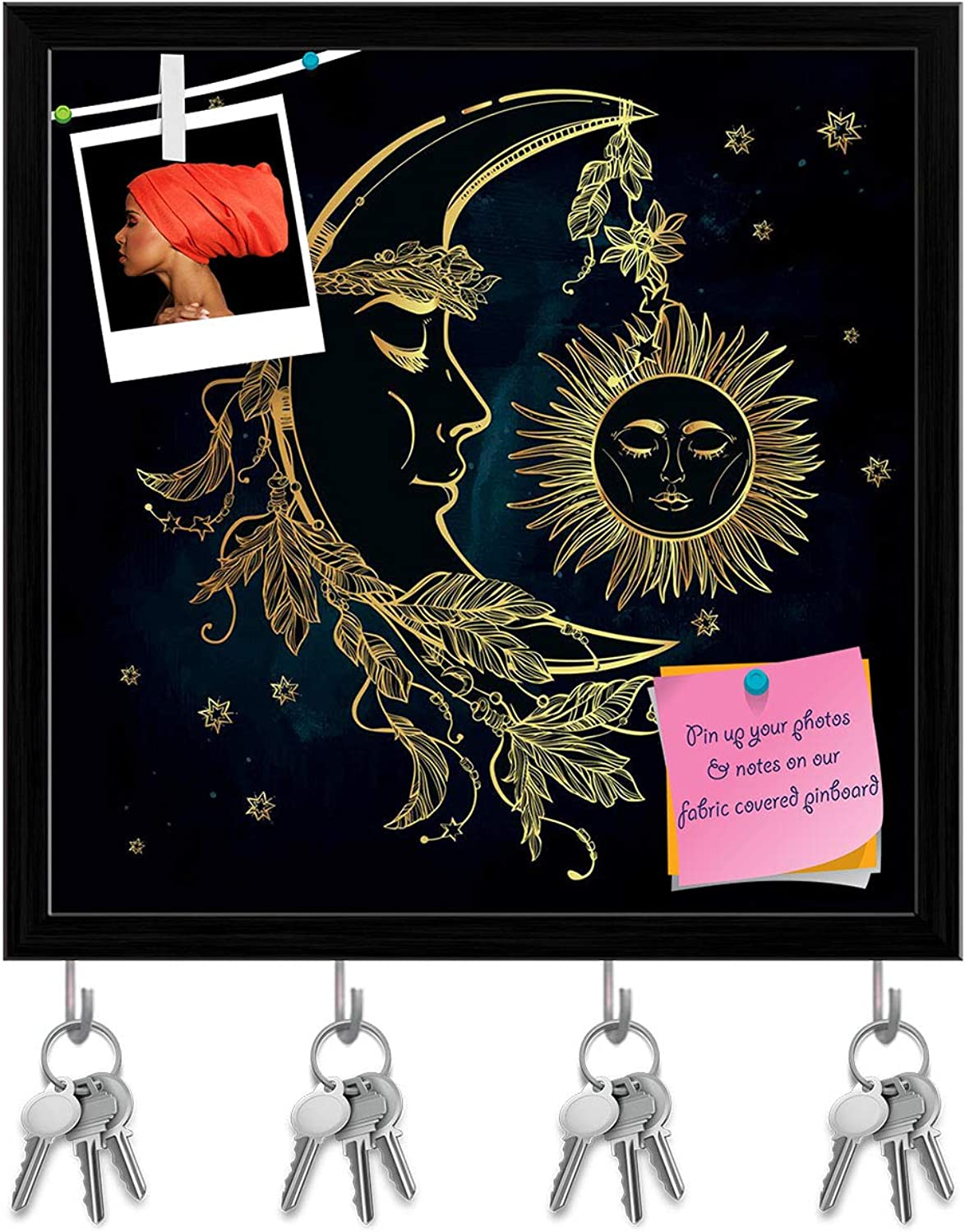 Artzfolio Crescent Moon with Feathers Key Holder Hooks   Notice Pin Board   Black Frame 20 X 20Inch