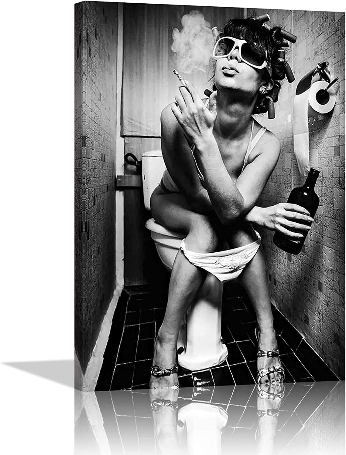 Black and White Lowest price challenge Fashion Toilet Sexy Canvas Beauty San Francisco Mall Mo Woman Print