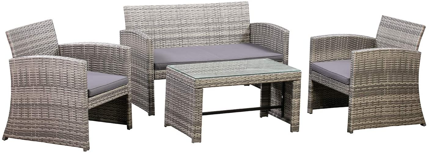 Amazon Basics Outdoor low-pricing Patio Garden Rattan Long-awaited Wicke Textured Faux PE