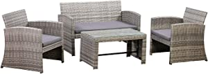 AmazonBasics Outdoor Patio Garden PE Rattan Textured Faux Wicker Modular Sofa - 4-Piece Set, Brown and Grey Rattan