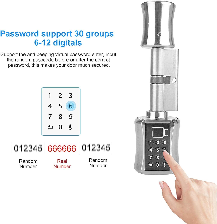 KKmoon Intelligentes Zylinderschloss mit Tuya APP Keyless Elektronischer Fingerabdruck T/ürschloss BT Digitaler Passwortschloss Code Diebstahlsicherung T/ürschlosskern mit elektrischem