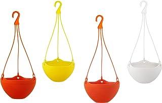 GARDENS NEED 100% Virgin Plastic Bell Pot | Set of 4 Hanging Planter, (20cm x 20cm x 22cm, Multicolor)