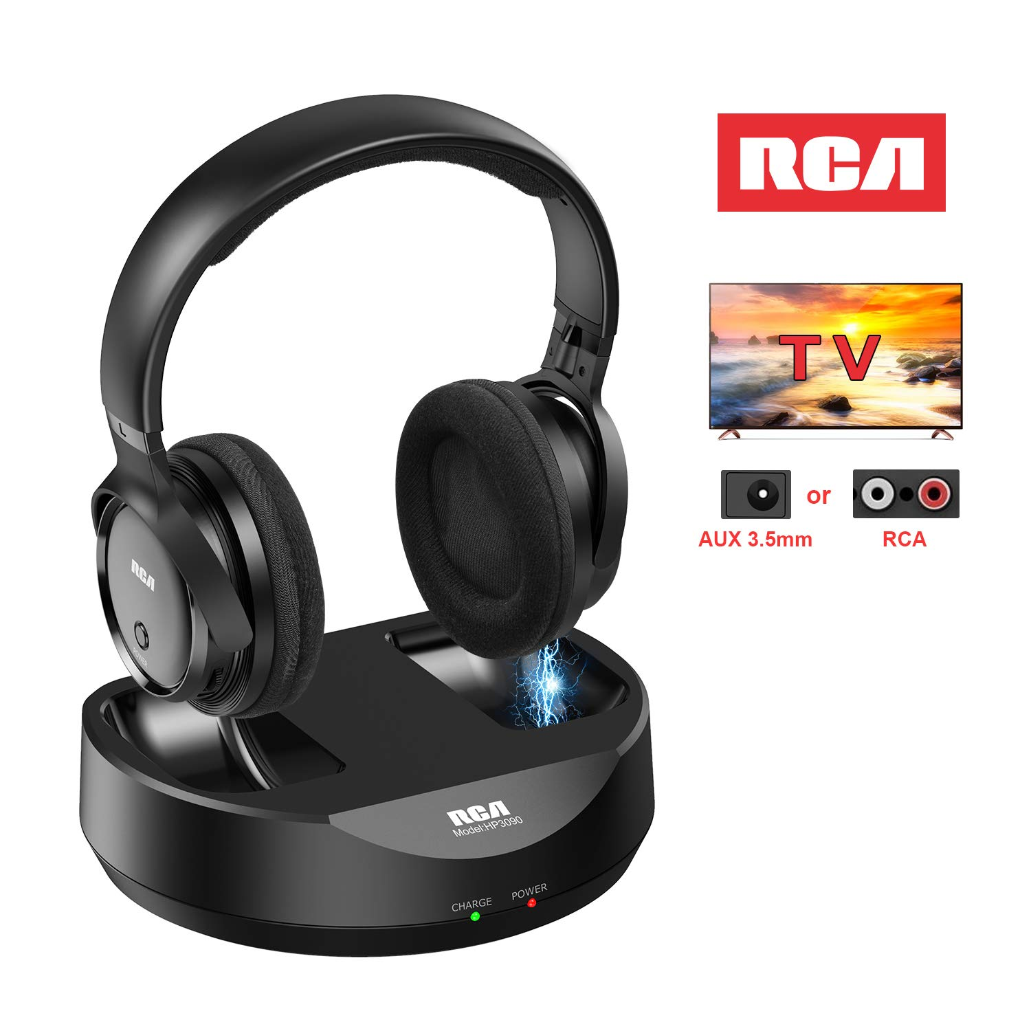 Amazon Com Rca Wireless Tv Headphones Over Ear Headphones For Tv Watching Pc Phone Mp3 Ipod Vcd Dvd Headphones For Seniors Hard Of Hearing 148ft 45m Range Rechargeable And Adjustable Electronics