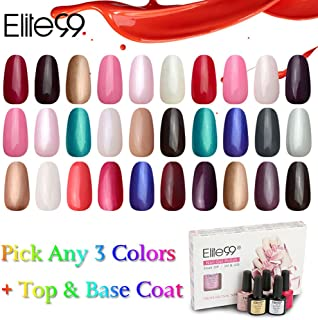 Elite99 Pick Any 3 Colors + Top Base Coat Set Soak Off Gel Nail Polish UV LED Lacquer Color Nail Art Manicure Kit Gift Set of 5