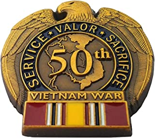 50TH Anniversary Vietnam WAR National Defense Military Vet Hat Pin 13099 HO