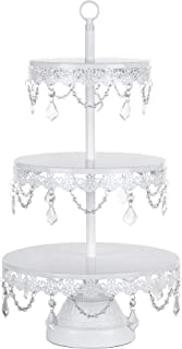 Amalfi Decor 3 Tier Dessert Cupcake Stand, Large Pastry Candy Cake Cookie Tower Holder Plate for Wedding Event Birthday Party, Round Metal Pedestal Tray with Crystals, White