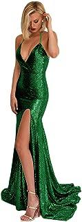 Staypretty Women's Sequins Prom Dress Long Split Halter V-Neck Backless Mermaid Evening