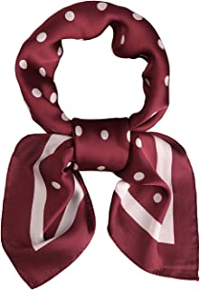 Vintage Square Silk Neck Scarf Polka Dot Scarfs For Women 27'' x 27'' Neckerchief Grace