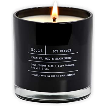 Lulu Candles | Jasmine, Oud & Sandalwood | Luxury Scented Soy Jar Candle | Hand Poured in The USA | Highly Scented & Long Lasting- 9 Oz. NO LID