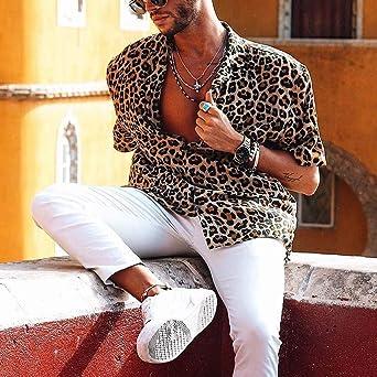 Overdose Camisas para Hombre Fiesta Manga Corta Informal Sexy Hippie Camisetas Hombres De Playa Retro Estampado De Leopardo Blusa Casual Hawaiana Tops ...