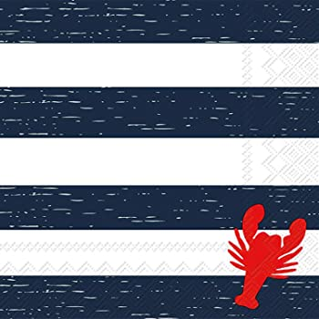 Celebrate the Home Nautical 3-Ply Paper Cocktail Napkins, Lobster Stripe, 20 Count