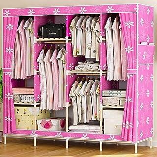 Armoire en toile pour chambre à coucher, armoire double armoire en tissu en bois massif simple, tissu Oxford pliant renfor...