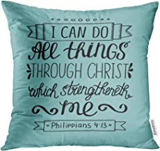 Emvency Throw Pillow Cover Hand Lettering Can All Things Through Christ Biblical Christian in The New Testament Scripture Modern Decorative Pillow Case Home Decor Square 18x18 Inches Pillowcase