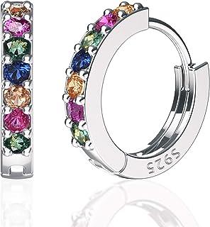 گوشواره حلقه نقره استرلینگ SWEETV 925 برای دختران زنانه - گوشواره کوچک کوچک بزرگ هاگی حلقه 3 اندازه