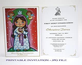 Girl first communion invitation girl Sacred Heart of Mary Boy first holy communion invitation boy Religious invitation First communion invites Spanish invitation First communion invitation printable