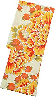 [ KIMONOMACHI ] オリジナル 浴衣単品「オレンジイエロー 大牡丹」