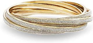 Yellow Gold Tone Glitter Design Interlocking Bangle Bracelet for Women