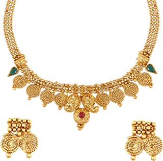 22K Traditional Indian Bollywood Designer Gold Coin Necklace Jewelry Set for Girls & Women (SJ_2689)
