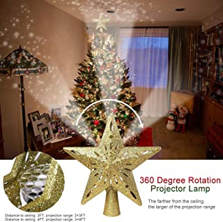WOOPOWER Lighted Christmas Tree Topper, Hollow-Out Sparkling Glitter Star Tree Topper with Rotating LED Projector Lights for Christmas Tree Ornament Xmas Home Decor (Gold)