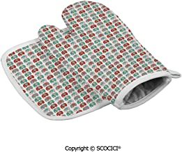 SCOCICI Durable Oven Gloves Stylized Cute Figures with Different Patterns Sweet Clip Art Heat Resistant Kitchen Insulated Gloves + Insulated Square Mat Insulated Gloves Combination
