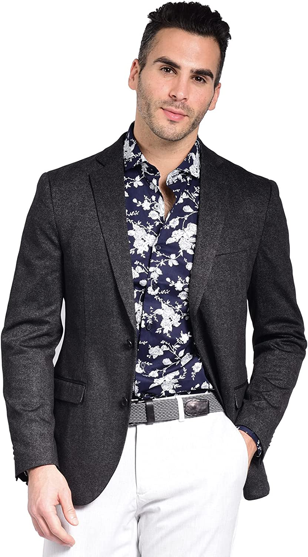 Craft & Soul Men's Slim Fit Stretch Pattern Knit Blazer Jacket Sport Coat
