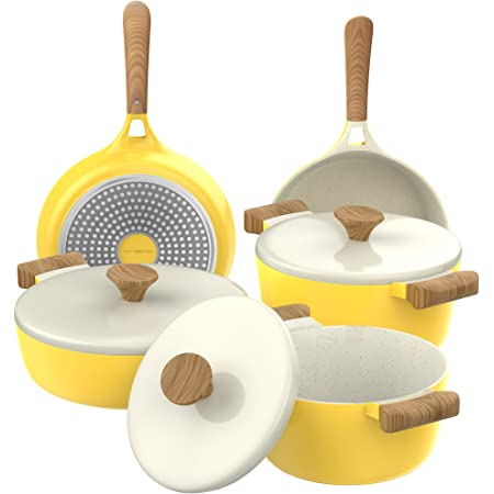 Vremi 8 Piece Ceramic Nonstick Cookware Set Induction Stovetop Compatible Dishwasher Safe Non Stick Pots and Frying Pans with Lids, Yellow and White