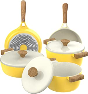Vremi omelet-pans, 8 Piece, Yellow and White