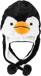 Penguin Plush Animal Winter Ski Hat Beanie Aviator Style Winter (Short) Black/White