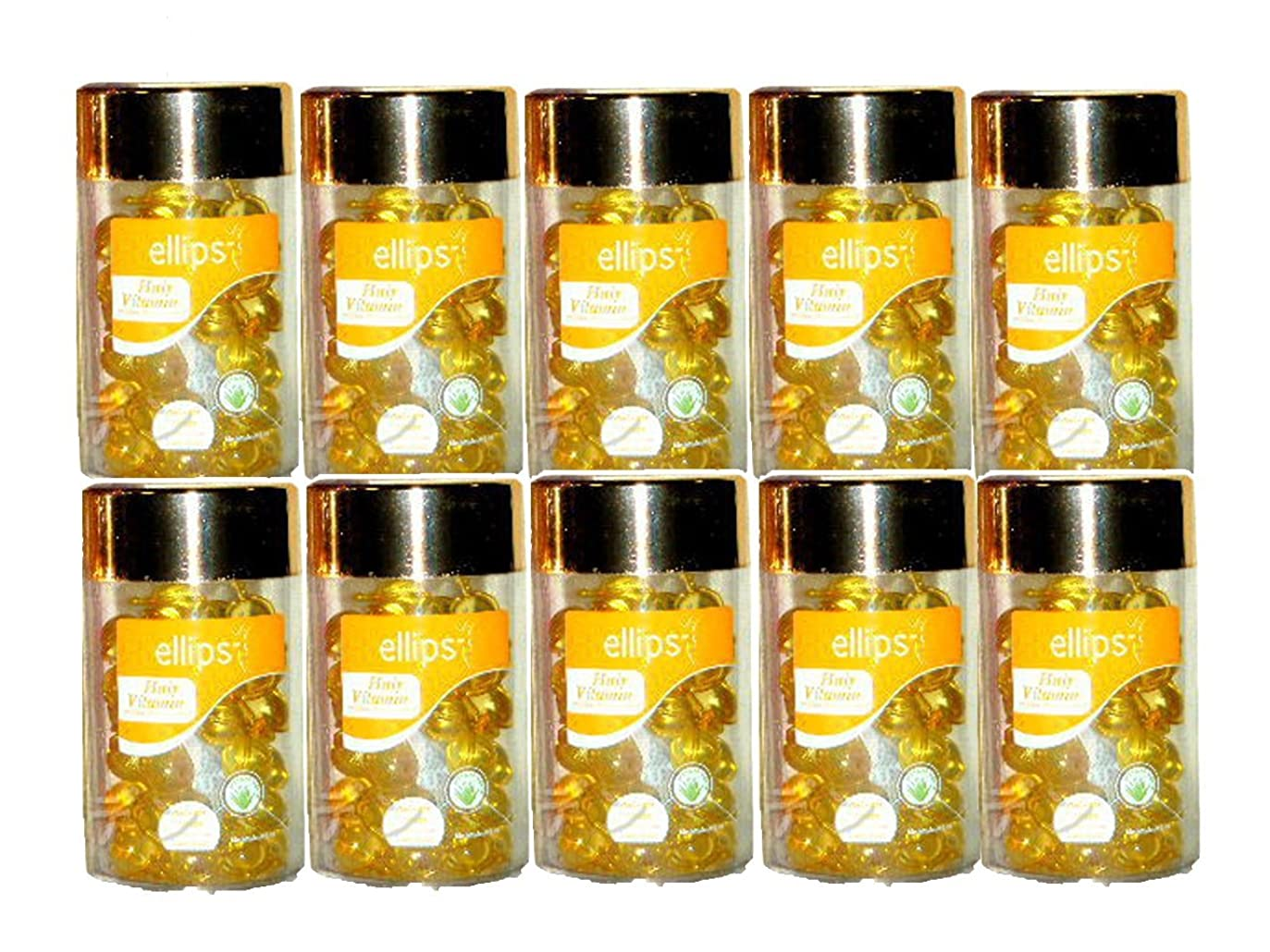 無意味解任スクレーパーエリップスellipsヘアビタミン50粒入り×10本組洗い流さないヘアトリートメント(バリ島直送品) (黄色10本) [並行輸入品]