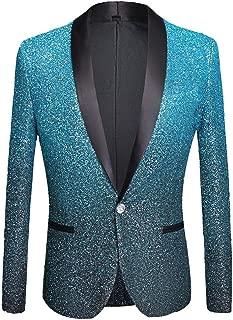 Mens Fashion Gradient Color Shiny Powder Blazer Suit Jacket