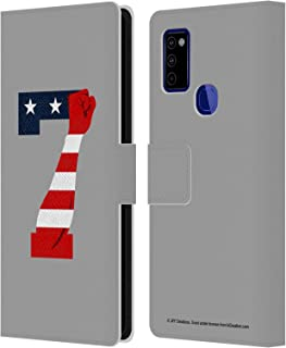 Head Case Designs Officially Licensed JVY Creations America Power 7 Leather Book Wallet Case Cover Compatible with Samsung Galaxy M51 (2020)