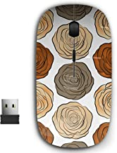 2.4G Ergonomic Portable USB Wireless Mouse for PC, Laptop, Computer, Notebook with Nano Receiver ( Beige Brown Orange Roses )