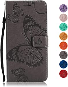 GORASS case for Samsung Galaxy Note Wallet Case Soft Leather Butterfly Embossed Design Case with Kickstand Function Card Holder and Slot Slim Flip Protective Skin Cover  Gray