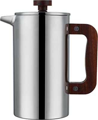 Miuly French Press Coffee Maker with Walnut Handle,1000ml / 34 oz Double Wall Coffee Cafetiere, 304 Grade Stainless Steel,Heat Resistant Tea or Cafetiere Kettle,Bonus 2 Mesh Filters