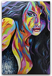 SHUAIDI Wall Arts - 100% Hand Painted Sexy Girl Vertical Oil Painting Abstract Canvas Wall Art Contemporary Artwork Figure Fine Art Wood Inside Framed Ready to Hang (SD031, 24x36inch)