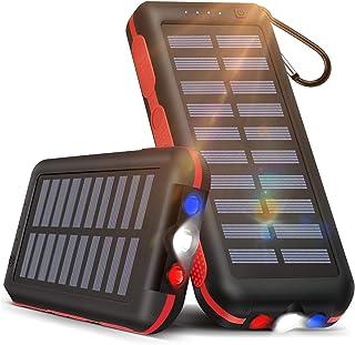 【25000mAh大容量&LEDライト付き】モバイルバッテリー ソーラーチャージャー 25000mAh 大容量 ソーラー充電器 【PSE認証済】2つ入力ポート「MicroとLightning」と3つ出力ポート 携帯充電器 LEDライト付き IP...