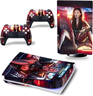 PS5 Game Console Sticker, Cyberpunk 2077 PS5 Full Set Skin Decal Used for Personalised Decoration of PS5 Game Controller, ...