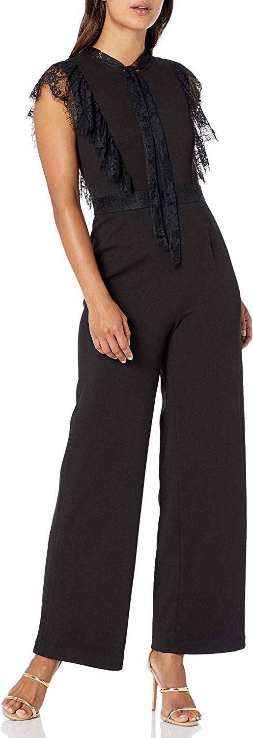Betsey Johnson Women's Colorado Springs Mall Petite Large special price !! with Jumpsuit Lace Trim