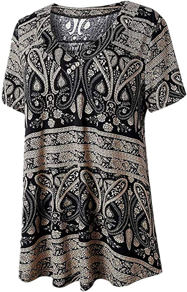 NREALY Blusa Womens Ladies V-Neck Button Printed Short Sleeve Loose Tops T-Shirt Blouse