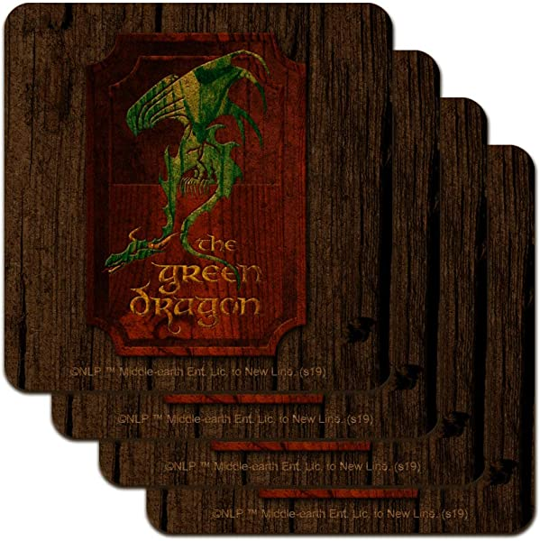 Lord Of The Rings The Green Dragon Low Profile Novelty Cork Coaster Set