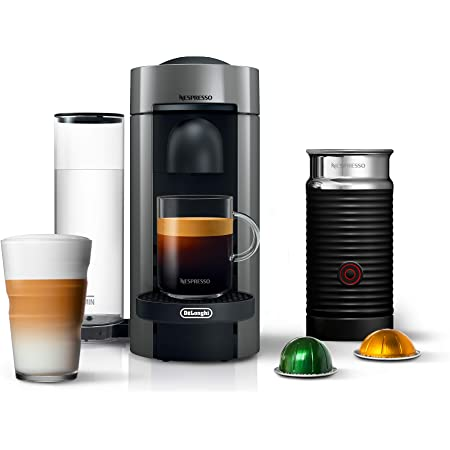 Nespresso Vertuo Plus Coffee and Espresso Maker by De'Longhi, Grey with Aeroccino Milk Frother