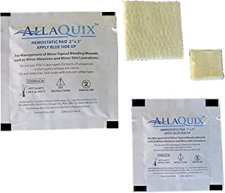 Combo Pack - AllaQuix Stop Bleeding Gauze - Include 2 Gauze Pad (1 Each of Large (2-inch) and Small (1-Inch)) Professional-Grade First-Aid Hemostatic Gauze (Blood Clotting Bandage)